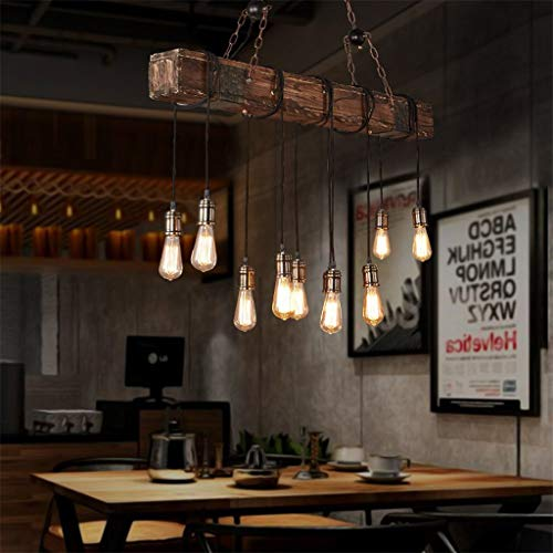 Distressed Industrial Be 10 Wood For Retro Freely Can Adjusted Wooden Rustic Pendant Light Line Chandelier Suspension Lights QCxBodeWr