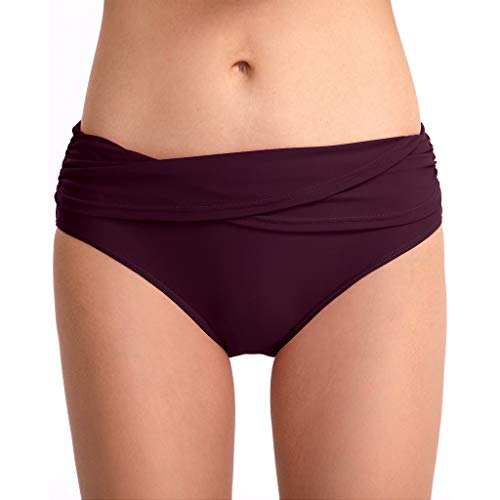 (Alangbudu Women Irregular Crossover Swimsuit Bottom Mid Waist Ruced Swim Briefs Bikini Shirred Hispter Tankini Shorts Purple)