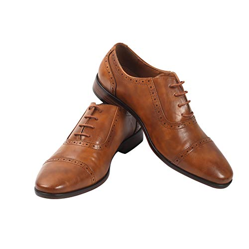 Mens Oxford Wingtip Lace Dress Shoes (8, Light Brown)