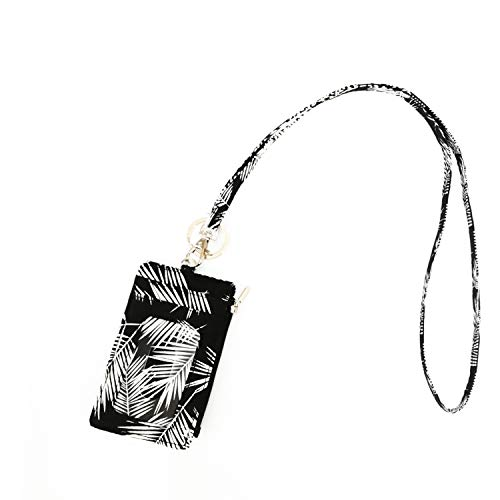 Lam Gallery Fashion Zip ID Card Case Wallet with Lanyard for Womens ID Badge Lanyard Wallets for Student and Office (Black Leaves)