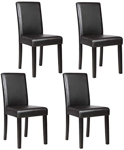 Amazon Com Mecor Upholstered Dining Chairs Set Of 4 Kitchen Pu Leather Padded Chair W Solid Wood Frame Dining Room Furniture Black Chairs