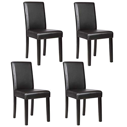Mecor Dining Chairs Set of 4,Kitchen Leather Chair with Solid Wood Legs Leather Padded Dining Room Furniture,Black