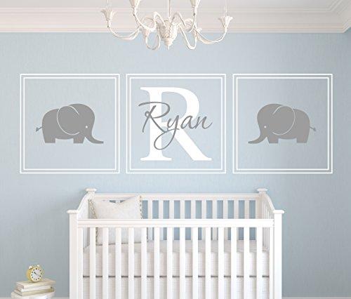 Custom Squares Elephants Name Wall Decal - Baby Boy Room Decor - Nursery Wall Decals - Art Vinyl Sticker ()