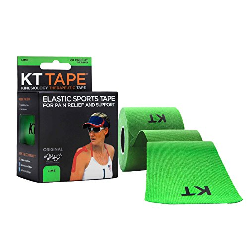 (KT Tape Original Cotton Elastic Kinesiology Therapeutic Sports Tape, 20 Pre cut 10 inch Strips, Lime )
