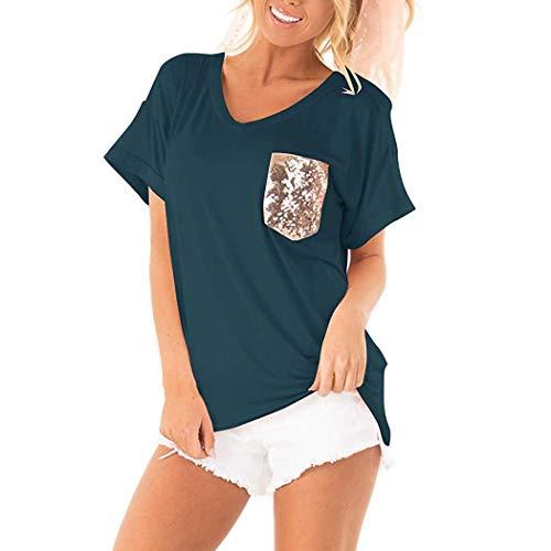 T-shirt Top Sequin - loukou Women Casual V-Neck Short Sleeve Sequin Pocket Patchwork Loose T-Shirt Top Knits & Tees Blue