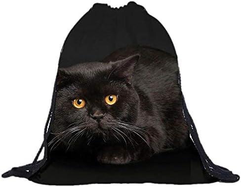 【ディアーアニマルズ】 猫 巾着袋 黒猫 巾着袋 くろねこショルダーバック バックバッグ 黒猫カバン