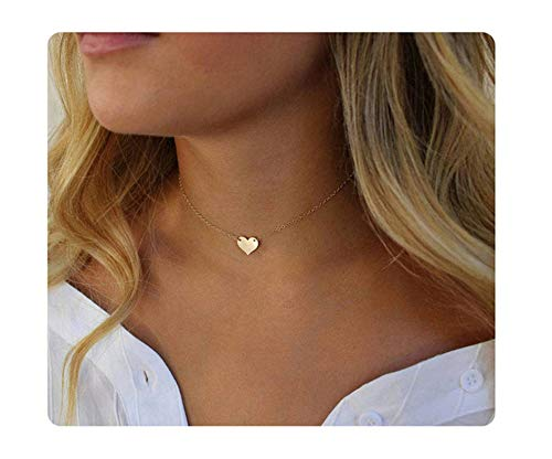 (S.J JEWELRY Fremttly Womens Simple Delicate Handmade 14K Gold Filled/Rose Gold/Silver Simple Delicate Heart and Bar Chokers Necklace for Mothers Day-CK6-S Heart)