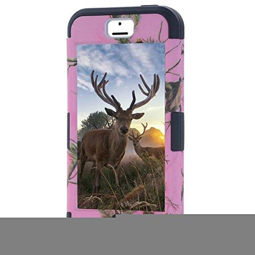 Iphone 5C Coque,Lantier Camo Combo souple en silicone + dur PC Protecteur luxe Triple couche hybride de modèle d'arbre pour Apple Iphone 5C Rose + Noir