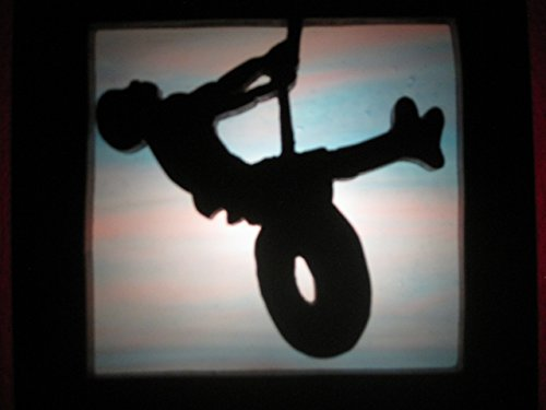 Stain glass night light boy on tire swing silhouette Handmade in the - Kids Glasses Silhouette