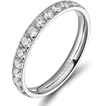 TIGRADE 3mm Women Titanium Eternity Ring Cubic Zirconia Anniversary Wedding Engagement Band Size 4 to 12.5