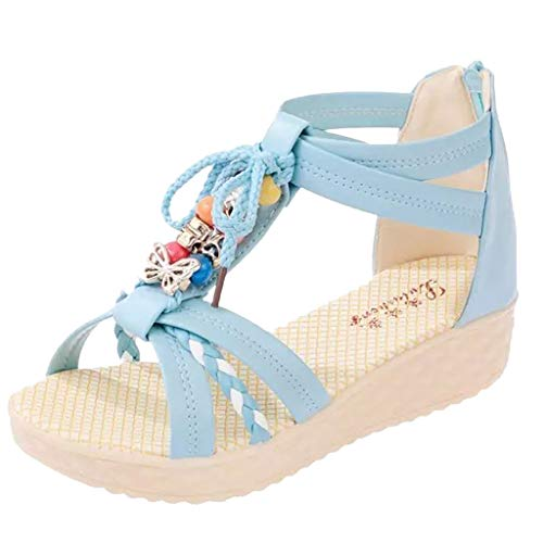 (BEAUTYVAN Womens Lace Up Sandals/Ladies D'Orsay/Bohemian Sandles for Womens/Low Wedge Party Dress Shoes Blue)