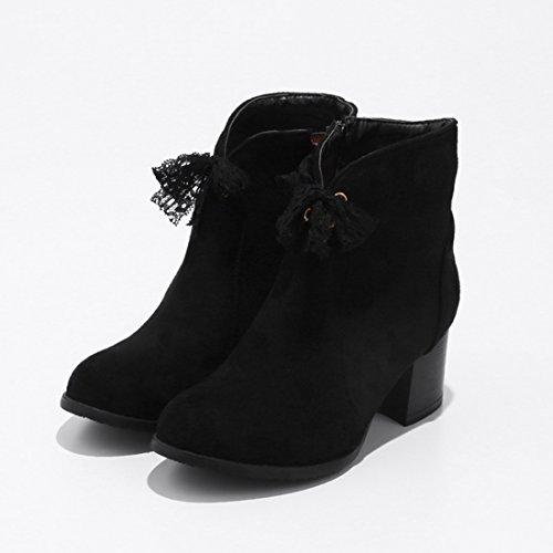 6cm Reißverschluss Heels mit YE Damen Chunky Schleife und Boots Stiefeletten Blockabsatz Bequem Spitze Schuhe Süß Schwarz Ankle ww7vERq