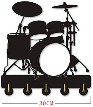 コートフック ユニークなデザインの楽器のドラムキットのシルエットフック/ウォールドアの設置服コート帽子キーフック/コートラック/壁用フック現代の家の装飾の壁のステッカー、ブラック(ロング:30センチメートル)