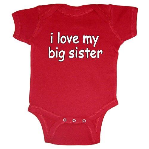 So Relative! Unisex Baby I Love My Big Sister (White Text) Bodysuit (Red, Newborn)