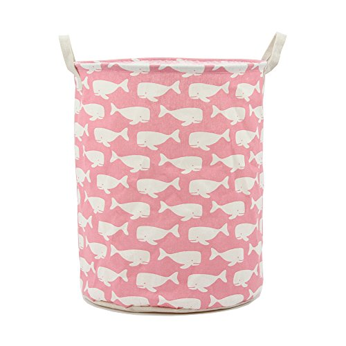 Mziart Large Collapsible Laundry Hamper Bucket Waterproof Fabric Storage Basket Nursery Baby Laundry Basket for Kids Toys Clothes (Pink Whale)