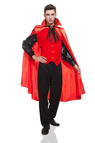 Adult Men Red Devil Costume Elegant Demon Suit Satan Lucifer Dress Up Role Play (Medium/Large, Red, (Halloween Costumes Ideas For Three Guys)