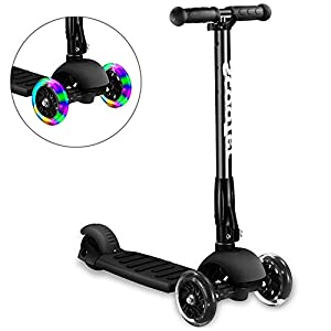 Greentest Scooter Foldable Adjustable Height Easy Turning 3 Wheel Kick Scooter for Kids Boys Girls with Flashing PU Wheels (Black)