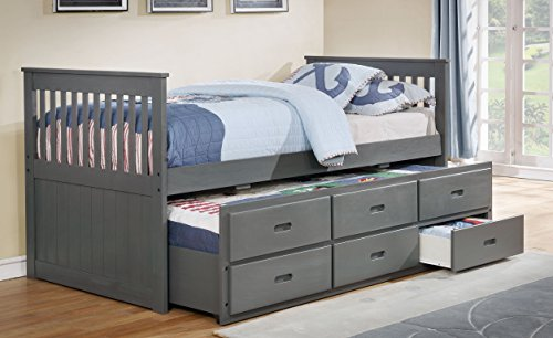 Major-Q Traditional Wood Frame Rustic Grey Twin Captain's Bed with Trundle and 3 Drawers (SH4541131T)