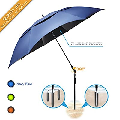 Portable Sun Beach Umbrella,Carbon fiber umbrella rod,new black glue,anti ultraviolet?Quick installation,360° arbitrary rotating?used in beaches, pools, terraces, parks, tours, mountain?Dark Blue
