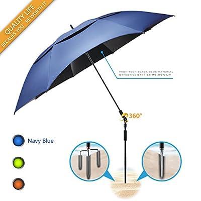 Portable Sun Beach Umbrella,Carbon fiber umbrella rod,new black glue,anti ultraviolet?Quick installation,360? arbitrary rotating?used in beaches, pools, terraces, parks, tours, mountain?Dark Blue