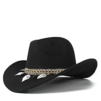 SHENTIANWEI Neutral Men Women Authentic Western Cowboy Hat Winter Outdoor Fascinator Hat Wool Trilby Sombrero Cap Size 56-58CM (Color : Black, Size : 56-58)