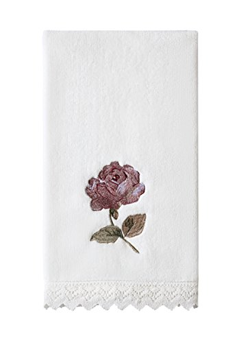 Pink Crochet Rose - Five Queens Court Rosalind Country Chic Floral Embroidered Crochet Trim Hand Towel, Pink Rose