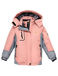 Wantdo Girl's Hooded Ski Fleece Jacket Waterproof Raincoats Outwear