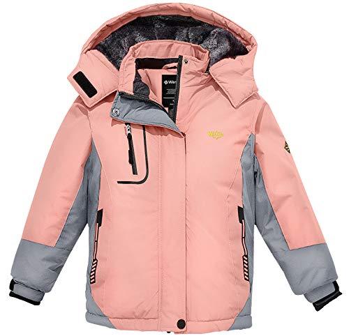 Wantdo Girl's Mountain Ski Fleece Jacket Waterproof Raincoats Parka Pink 10/12