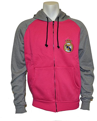 fan products of Real Madrid Zip Front Fleece Hoodie Sweatshirt Jacket HOT Pink Gray NEW Season 2014-2015 Soccer (L)