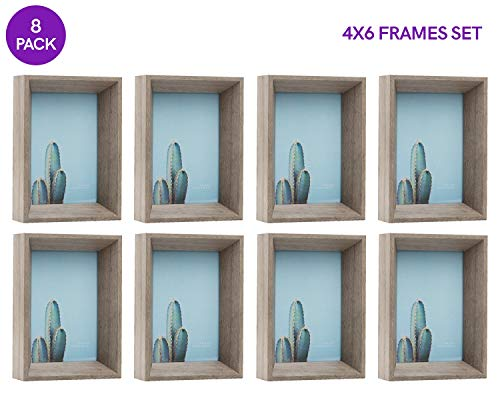 Sixtrees 4X6 Inch Gray Deep Picture Frames Set, Standing Easel Table Display, Real Glass, Wood, Thick Wooden Depth Photo Frame Rustic Distressed Bulk (8 Pack Grey)