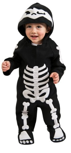 Baby In Cow Costume (Rubie's Baby Skeleton Romper Costume, Black/White, 6-12)