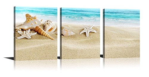 Seascape Giclee Canvas Prints Seashell Starfish on Beach Landscape Pictures Paintings on Canvas Stretched and Framed Conch starfish White Sand Zen Canvas Wall Art set of 3 for Home Decor 12x16in