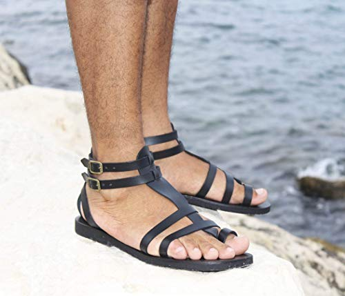 Mens Spartans Leather - Men Leather Sandals Gladiator Greek Roman Style, Ankle Straps Toe Ring Sandals - FASCINATION