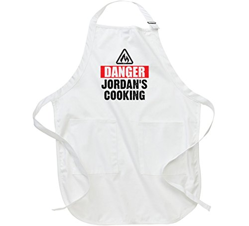 Danger Jordan is Cooking Funny Kitchen Baking BBQ Mother's Gift Apron L White by T Shirt Warrior