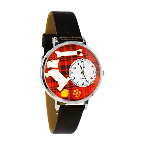 Whimsical Watches Unisex U0130073 Westie Black Skin Leather Watch ()