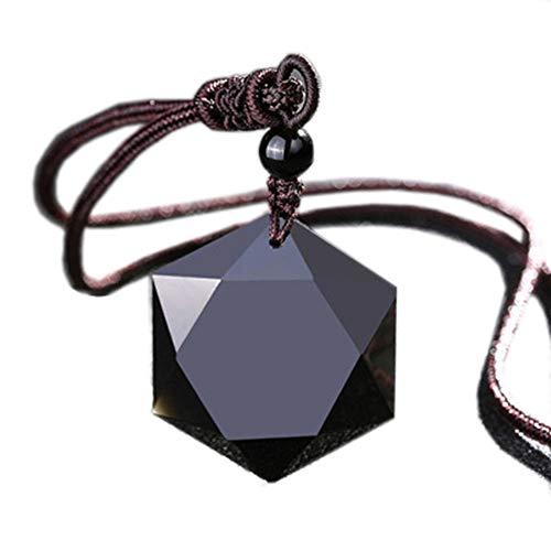 David Kabel ?Premium? Amazing Pretty Amulet Hexagram Black Obsidian Necklace Women Gorgeous, Mens Cool Natural Stone Protective Obsidian Stone Pendant