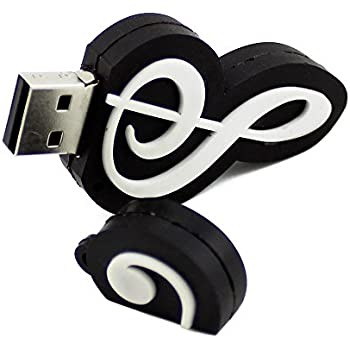 CHUYI Novelty Music Note Shape 8GB USB 2.0 Flash Drive Date Storage Pen Drive Memory Stick Pendrive Thumb Drive with U Disk Gift (Black)