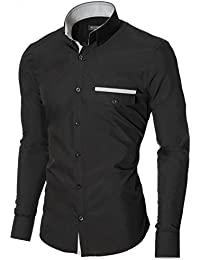 "<span class=""a-offscreen"">[Sponsored]</span>Mens Button Down Shirts Casual Slim Fit Long Sleeve Fake Pocket Stripe Details (MOD1413LS)"