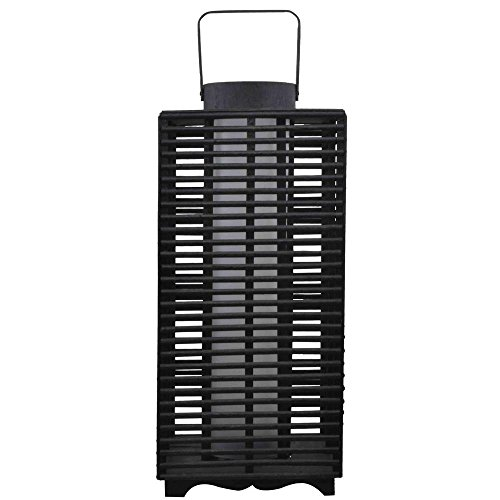 Hampton Bay Solar and Battery Powered Black Outdoor LED Resin Rattan Lantern Hampton Large Post