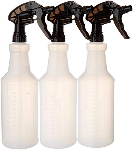Industrial Large Spray Bottles for Cleaning Solutions - Chemical Resistant - Extra Large 32 oz - Leak Resistant - Car Detailing - Janitorial (32, Clear, 3)