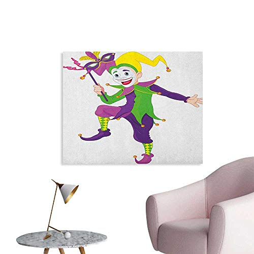 (Anzhutwelve Mardi Gras Art Decor Decals Stickers Cartoon Style Jester in Iconic Costume with Mask Happy Dancing Party Figure Wall Poster Multicolor W36)