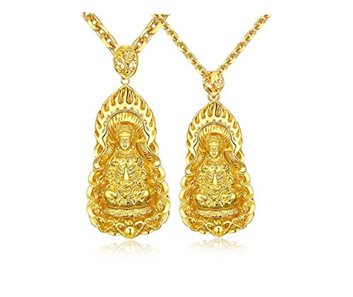 LiFashion LF 2Pcs His Her 18K Gold Plated Chinese Sakyamuni Buddha Blessing Lucky Pendant Necklace Couples Amulet Jewelry Men Women