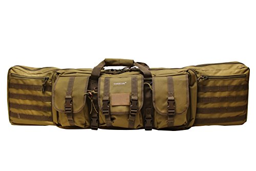 (YONGCUN Gun Bag Gun Case Rifle Bag Double Tactical Bag Double Carbine Cases Long Gun Case Bag Tactical Gun Bag 46inch Tan 600D Waterproof PVC)
