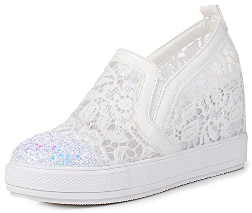 IDIFU Women's Trendy Glitter High Wedged Heels Inside Round Toe Pull On Sneakers (White, 7 B(M) US) by IDIFU