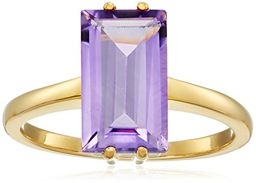 2 Tone Amethyst Ring (18k Yellow Gold Plated Sterling Silver Two Tone Cushion Cut Genuine Amethyst 12x7mm Ring, Size)