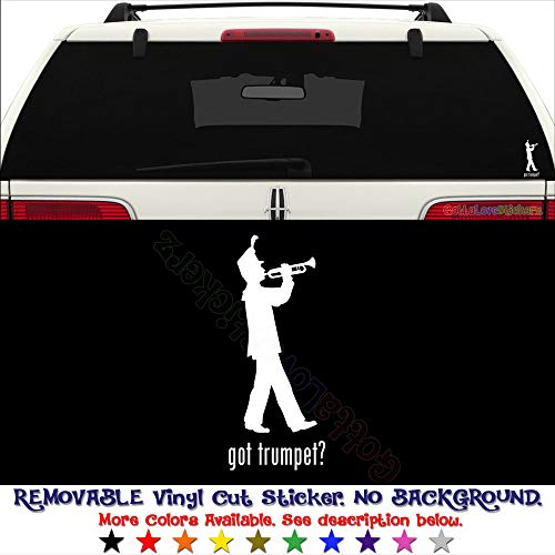 Got Trumpet Marching Band School Removable Vinyl Decal Sticker for Laptop Tablet Helmet Windows Wall Decor Car Truck Motorcycle - Size (05 Inch / 13 cm Tall) - Color (Matte White)