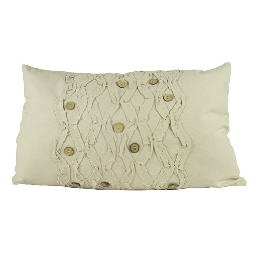 (Handmade Ruffle Coconut Button Decorative Throw Pillow, 14
