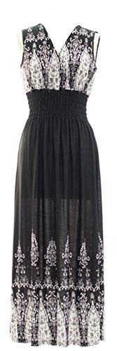 Paisley Summer Maxi Black Span Feathers Poly Modern Prints Plum Dress 8PpwUWxPq