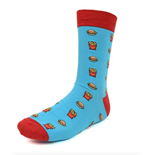 Urban Peacock Men's Novelty Fun Crew Socks - Multiple Patterns & Multi-Pair Options (Hamburgers & Fries - Blue with Red, 1 Pair) from Urban Peacock