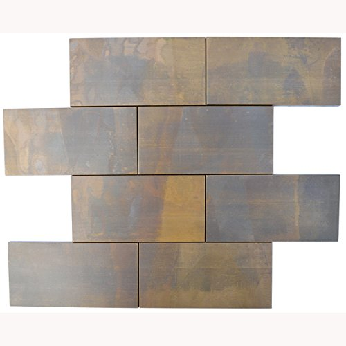 Eden Mosaic Tile Large Brick Antique Copper Mosaic Tile for Bath and Kitchen Backsplash, Fireplace Surround and Other Wall Decor Applications - EMT_T21-COP-AT